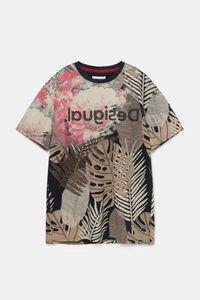 Basic-T-Shirt exotische Blätter