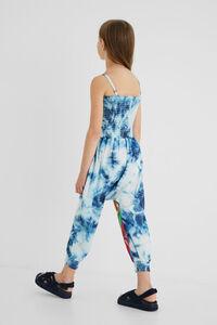 Langer Jumpsuit Baumwolle Batik Blumen