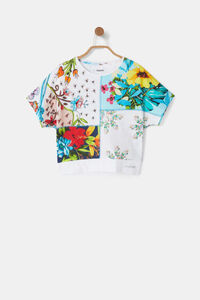 Oversize-T-Shirt Patch Blumen