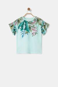 T-Shirt Blumen Volant-Ärmel
