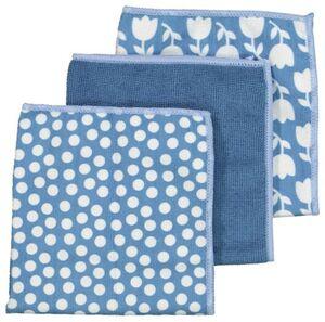 HEMA 3er-Pack Mikrofasertücher, 36 X 36 Cm, Blau