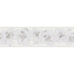 XXXLutz Bordüre 5,00 m , 959913 , Grau, Weiß, Hellbraun , Textil , Floral , 500x17 cm , Vliesstoff , 006407003003