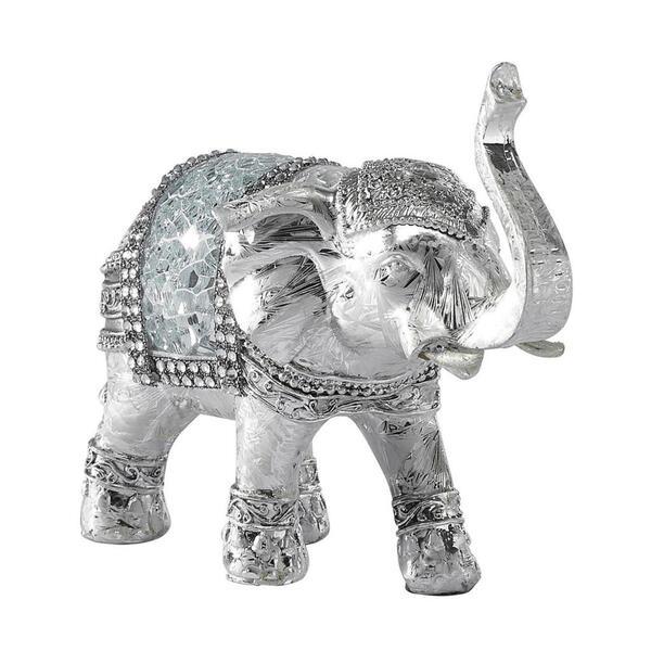 Ambia Home Dekoelefant , Ny8361500 - Elefant , Silber, Weiß , Kunststoff , Ornament , 15x6.5x12.5 cm , glänzend , stehend, zum Stellen, handgemacht , 0083060191