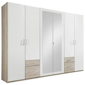 MID.YOU Kleiderschrank 6-türig weiß, eichefarben , Freiburg , Holzwerkstoff , 3 Fächer , 4 Schubladen , 270x210x58 cm , Nachbildung , in verschiedenen Größen erhältlich, Holzdekoren erhältlich