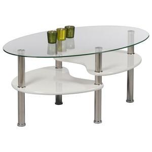 Livetastic Couchtisch oval weiß , Panty , Glas , 50x40x90 cm , Hochglanz, lackiert,Nachbildung , 000572001917