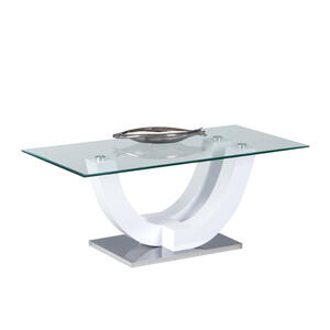 MID.YOU Couchtisch rechteckig weiß , Swing , Glas , 60x48x120 cm , Nachbildung , 000572012323