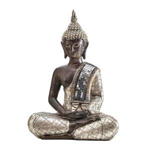 Ambia Home Buddha , Ny1678403 , Braun, Silber, Gold , Kunststoff , 26.5x36x15 cm , lackiert, antik , Kunsthandwerk, sitzend, zum Stellen , 0083060037