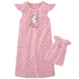 Mädchen Nachthemd und Puppennachthemd im Set