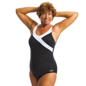 Badeanzug Karli figurformend Aquagym Damen schwarz/weiß