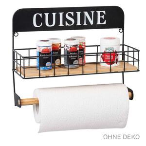 Casalino Küchenregal mit Papierrollenhalter Bambus mit Schwarz
