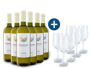 6 x 0,75-l-Flasche Weinpaket Moschofilero Peloponnese PGE trocken, Weißwein mit 6er Weißwein-Gläserset Ernesto