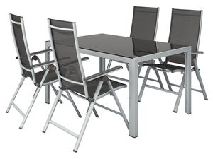 FLORABEST Alu-Gartenmöbelset mit Standardtisch & Klappsessel, 5-teilig, Grau
