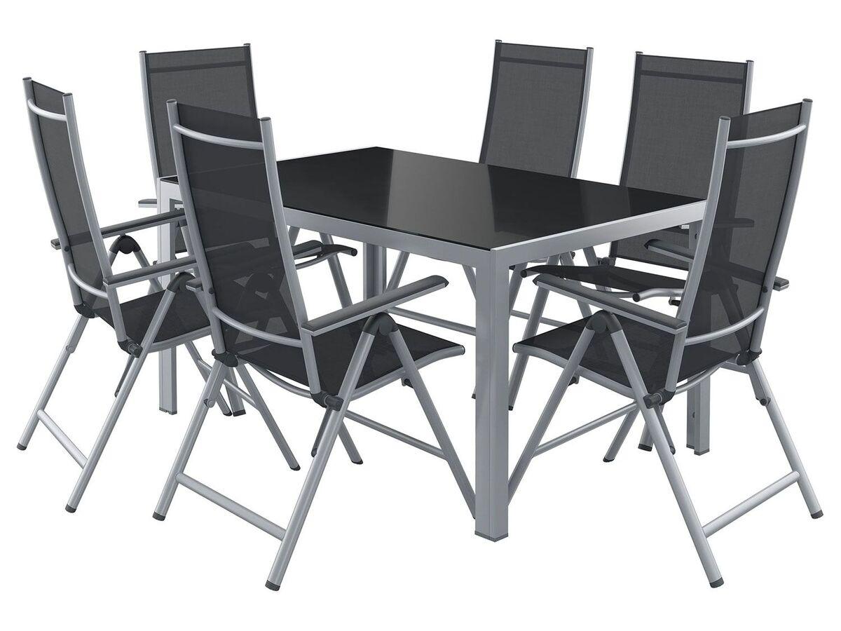 Bild 1 von FLORABEST Alu-Gartenmöbelset mit Standardtisch & Klappsessel, 7-teilig, Grau