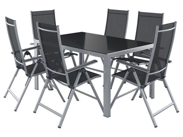 FLORABEST Alu-Gartenmöbelset mit Standardtisch & Klappsessel, 7-teilig, Grau