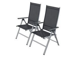 FLORABEST Klappsessel Aluminium, Grau, 2er Set