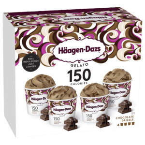 Häagen Dasz Gelato 150 Calories Chocolate Drizzle 4x95ml