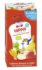 Hipp Bio Hippis Erdbeere-Banane in Apfel Vorteilspack 4x 100 g