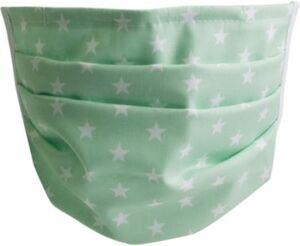 Mund-Nasen-Maske, mintgrün mit Sternen