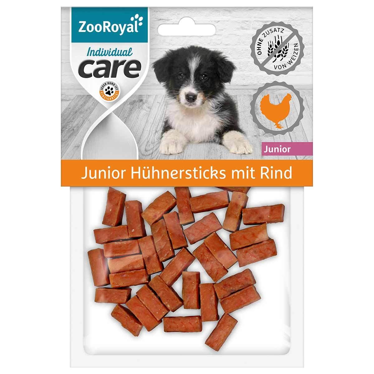 Bild 1 von ZooRoyal Individual care Junior Hühnersticks mit Rind 3x70g