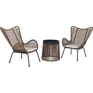 Balkonmöbel-Set Kelvington 3-teilig Polyrattan Braun