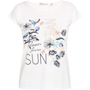 Adagio T-Shirt, Strass, floraler Print, überschnittene Schulter, für Damen