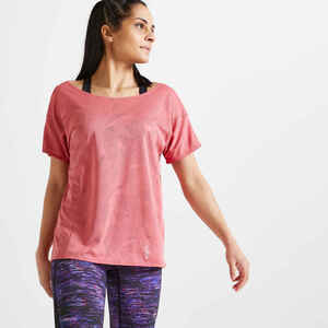 T-Shirt FTS 500 Fitness weite Form rosa