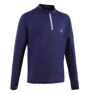 Laufshirt langarm Leichtathletik warm 1/2 Zip AT 100 Kinder marineblau