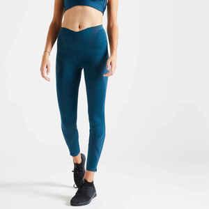 Leggings hoher Taillenbund Fitness figurformend grünblau