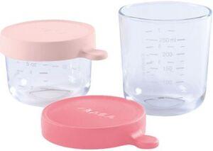 2er Set Portionsbehälter aus hochwertigem Glas (150 ml rosa / 250 ml dunkelrosa)