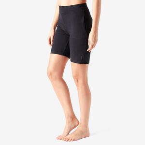 Shorts Fitness Baumwolle gerader Schnitt Fit+ Damen schwarz