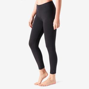 Leggings 7/8 Fitness Baumwolle kurz Fit+ Damen schwarz