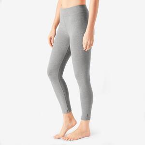 Leggings 7/8 Fitness Baumwolle kurz Fit+ Damen grau meliert