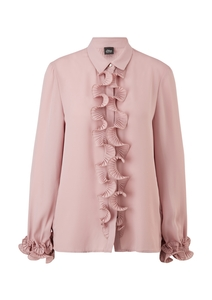 Damen Rüschen-Bluse mit Plissees