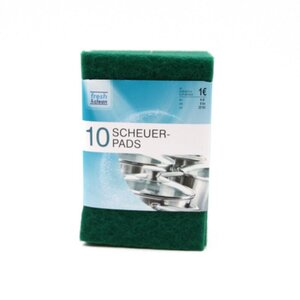 10er-Pack Scheuerpads, ca. 10 x 15 cm, 100 % Polyester, grün