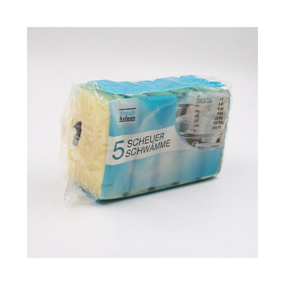 Bild 2 von 5er-Pack Scheuerschwämme/Topfschwämme, ca. 10 x 6,5 cm, gelb