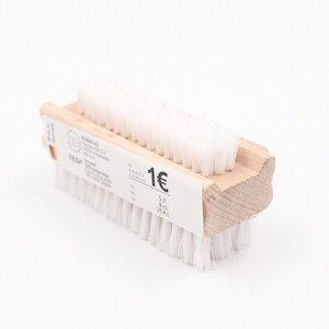 Nagelbürste aus Holz mit weißen Borsten, 9,5 x 3,7 x 4,5 cm