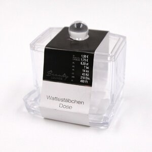 Wattestäbchen Dose/Spender/Kosmetik-Organizer, transparent, Kunststoff