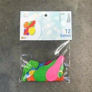 12er Pack Luftballons, rund und länglich, ca. Ø 20 - 30 cm, bunt sortiert