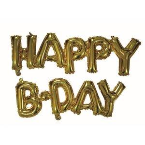"""Folienballon, Schriftzug """"Happy B-Day"""", Gold"""