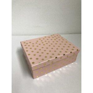 Geschenkbox mit Punkten, rosa/gold, verschiedene Größen