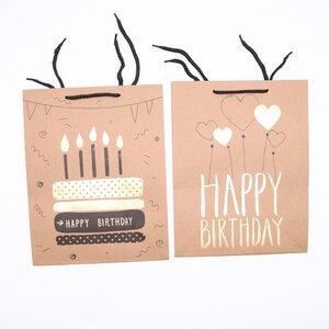 Geschenktüte zum Geburtstag, Papier, ca. 32 x 26 x 12 cm, verschiedene Designs