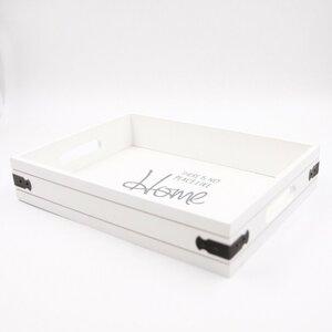 Deko-Tablett, ca. 35 x 6,5 x 26 cm, Holz, weiß