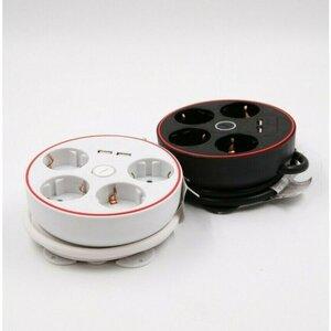 4er-Steckdosenleiste, mit 2 USB-Anschlüssen und Ausschalter, rund, verschiedene Farben