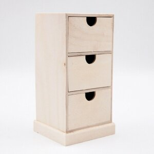 """Aufbewahrungsbox """"Schränkchen"""" mit drei Schubladen, ca. 11 x 21 x 10 cm, Holz"""