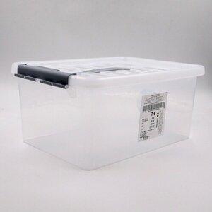 Aufbewahrungsbox mit Deckel, 14 l, transparente Deckelbox, 40 x 30 cm, Kunststoff