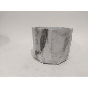 Blumentopf in Marmoroptik, geometrisch, Zement, 13,5 x 13,5 x 11,5 cm