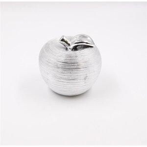 Deko-Skulptur Apfel metallic Dekofigur, 13,5 cm, Dolomit, silber