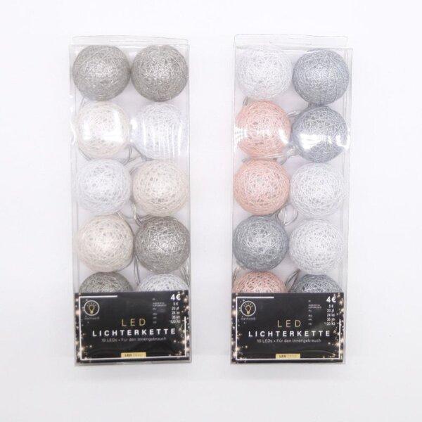 LED Lichterkette, mit 10 Raphia Kugeln und 10 LEDs, für den Innengebrauch, ca. 120 cm, batteriebetrieben, verschiedene Farben
