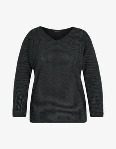 Via Cortesa - Chenille-Shirt im Schwarz-Weiß-Look