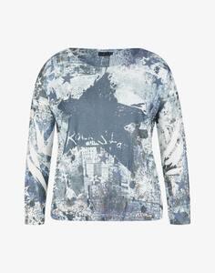 Via Cortesa - Feinstrick-Shirt mit Allover-Print und Stern